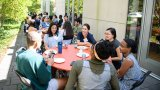 Diverse group of Princeton graduate students get to know each other during lunch at the Graduate Scholars Program retreat.