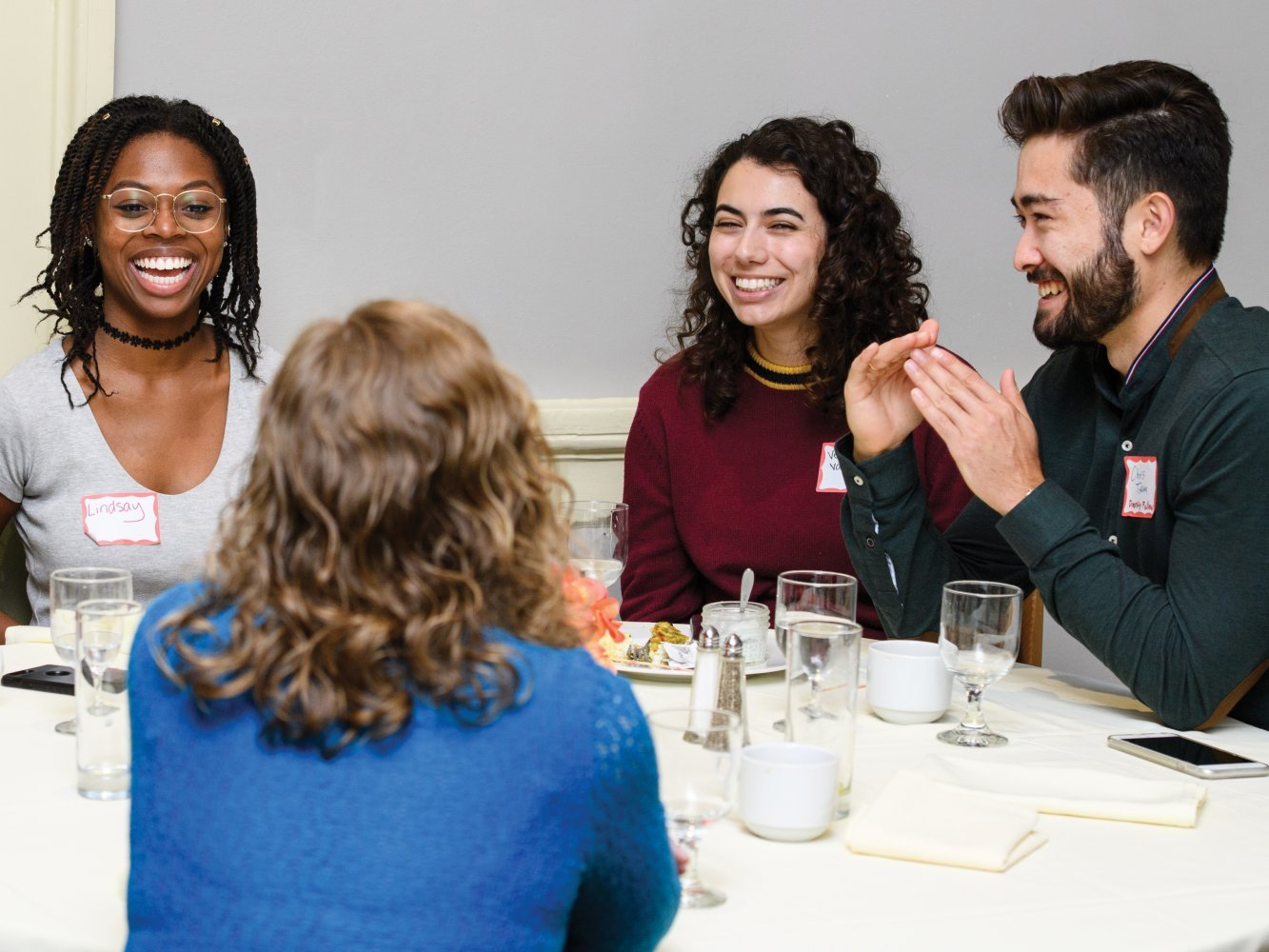 Group of diverse student dining together