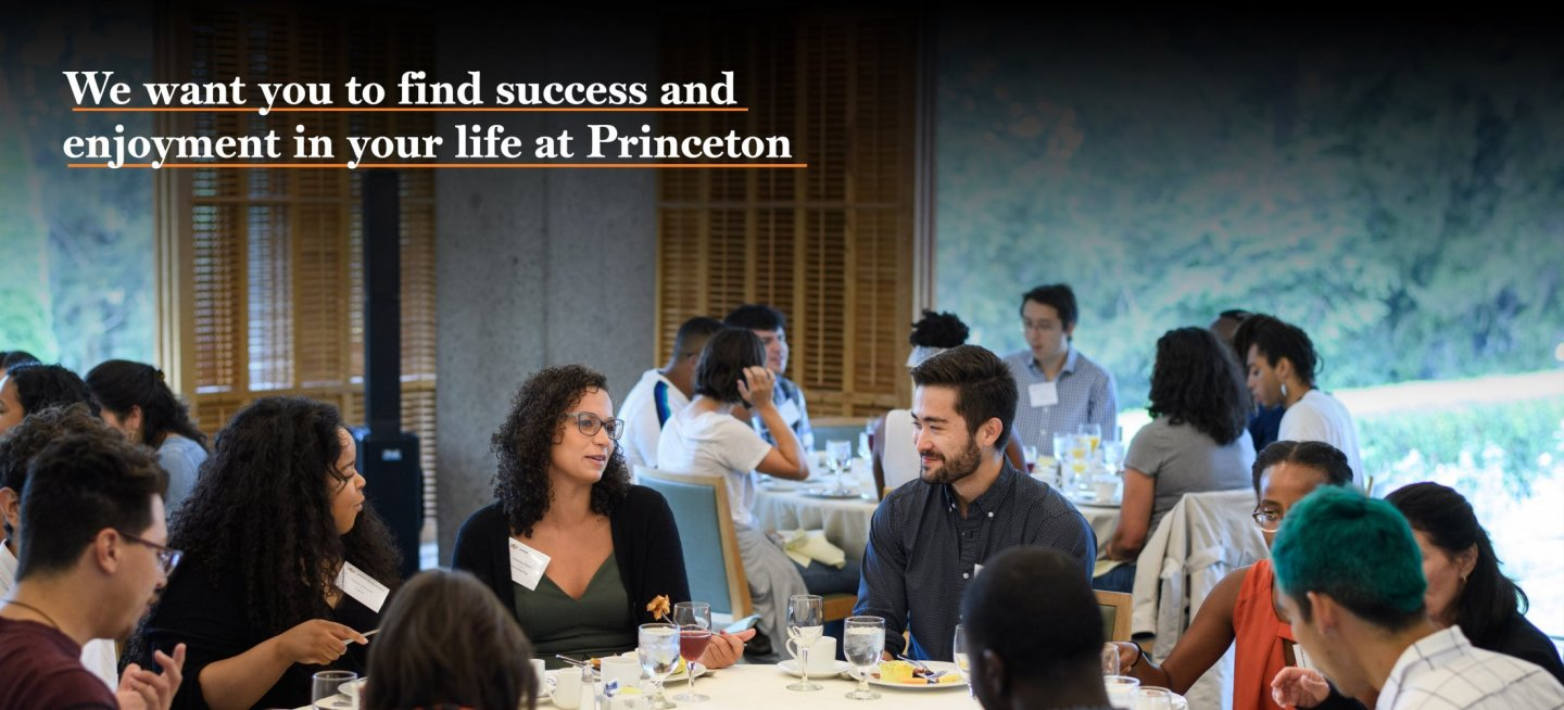 Diverse group of Princeton graduate students get to know each other during lunch.